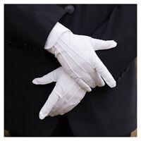 1 Pair White Formal Gloves Tuxedo Honor Guard Parade Santa Mens Inspection