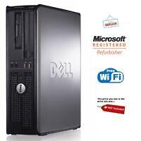 WINDOWS 10 DELL OPTIPLEX COMPUTER DESKTOP TOWER PC INTEL 4GB RAM 250GB HDD WIFI