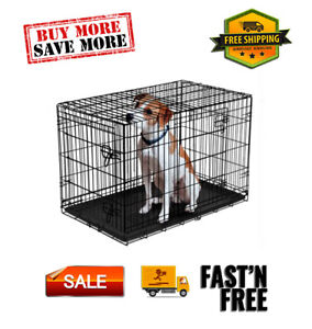 All size Double-Door Folding Wire Dog Crate with Divider
