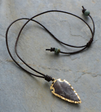Boho Leather Arrowhead Spear Flint Stone Necklace Men's Women's Lariat Gold