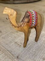 Camel Hand Carved Wooden Figurine with Red Saddle and Gold Chain