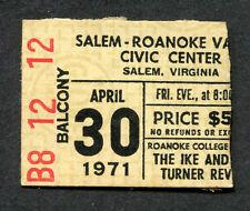 Ike and Tina Turner 1971 Concert Ticket Stub Salem Roanoke Virginia Proud Mary