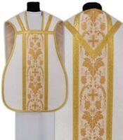 Pianeta Bianca con stola R001-B25 Casula Romana Paramento liturgico VARI COLORI