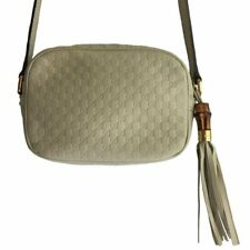 GUCCI Sling Cream Monogrammed Leather with Bamboo-Accented Tassel Handbag