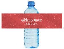 "100 Modern Red glitter Wedding Birthday Party Water Bottle Labels 8""x2"""