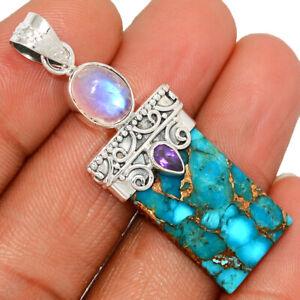 Copper Blue Turquoise, Moonstone & Amethyst 925 Silver Pendant BP67711 232H
