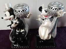 Pair Disney Figurine Candle Holders Steppin' Out Mickey & Minnie Mouse Wedding