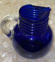 "VINTAGE 1930'S LOUIE GLASS COBALT BLUE PITCHER w CLEAR RIBBED HANDLE 7.5x8"""