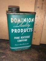 Vintage Dominion Chemical Company Prime Neatsfoot Compound Empty Can.
