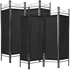 2x 4-panel room divider separator panel wall movable partition folding black