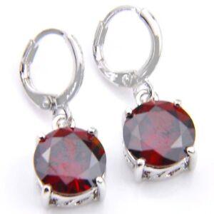 Natural Gemstone Red Fire Garnet 925 Sterling Silver Plated Dangle Hook Earrings