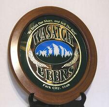 "Hangable ""Wasatch Beers"" Framed Oval Mirror<Park City, Utah>Schirf Brewing Co."