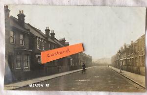 1911 Bromley Meadow Road Shortlands Man On Bicycle RP Postcard