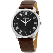 Bulova Classic Black Dial Leather Strap Men'S Watch 96A184