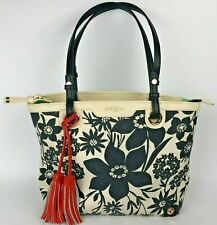 Spartina 449 Island Tote Handbag purse bag black cream floral leather tassel