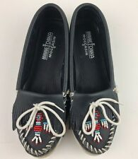 Minnetonka Women Beaded Thunderbird Dark Blue Leather Soft sole Moccasins Size 8