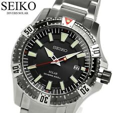 SEIKO MENS SOLAR DIVERS WATCH 200M SNE295P1 FREE EXPRESS BLACK, SS BAND SNE295