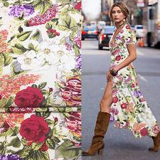 Flower print garden pattern silk cotton blended fabric 138cm width,SCT362