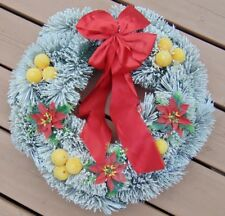 """Vintage Bottle Brush Flocked Wreath w Flocked Fruit and a RED Bow!  20""""  50s-60s"""