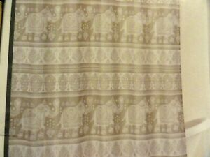 new Circus GRAY WHITE Elephants Swirls medallion Textured Fabric SHOWER CURTAIN