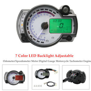 7 LED Motorcycle Odometer/Speedometer Meter Digital Gauge Tachometer Engine 12V