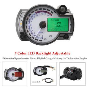7 LED Motorcycle Odometer/Speedometer Meter Digital Gauge Tachometer Engine 12V