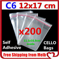 200x C6 Cello Bag 120x170mm Cellophane Clear Resealable Plastic Self Adhesive