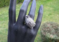 Ancienne très belle grosse bague tortue en argent massif garanti, Taille 57