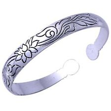 Womens Fashion Tibetan Wide Silver Plated Stainless Steel Cuff Bangle Bracelet