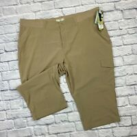 Riders by Lee Capri Pants Plus Size 26W On The Go Comfort Khaki Tan Stretch Crop