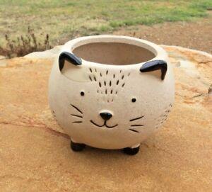 Natural colour Cat Pot Planter Cream Finish succulent/ cactus/herb