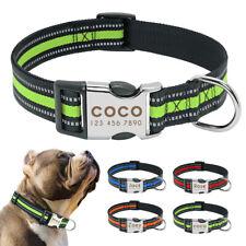 Personalized Reflective Dog Collar Nylon Small Large Adjustable Bulldog Labrador