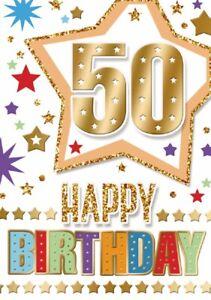 Happy 50th Birthday. Fun Star Design Card For Age 50 Male