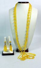 Vintage Multi Strand Yellow Plastic Opera Length Necklace Matching Clip On Earri
