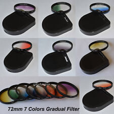 72 72mm Graduated Gradual Red Purple Green Orange Yellow Blue Grey Lenses Filter