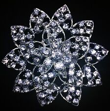 USA BROOCH PIN Rhinestone Crystal Gemstone Bridal Wedding Queen Cake Silver