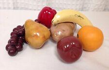 New 7 Pc Porcelain Faux Fruits Banana, Plum, Potato, Apple, Orange, Plum, Potato