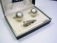 SWANK CUFF LINKS MATCHING TIE CLIP GENUINE DIAMOND VINTAGE CUFFLINKS GROOM GIFT
