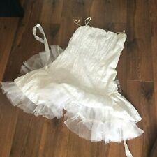 Lindo Mini Tul Blanco Vacaciones De Verano Vestido Elástico Ganga De £ 3 Reino Unido 10/12