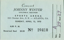 Johnny Winter 1970 Unused Concert Ticket Atlanta