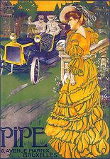 Art Poster Pipe 6 Ave Bruxelles Deco Car ad  Print