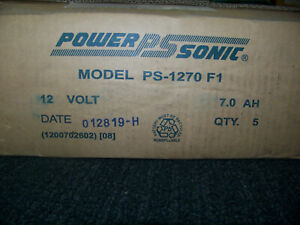 Power Sonic Rechargeable Battery 12V 7.0 AH Non-Spillable 5 ea. PS-1270 F1 New