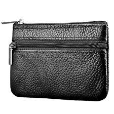 Women Men Leather Coin Purse Card Wallet Clutch Zipper Small Change Bag