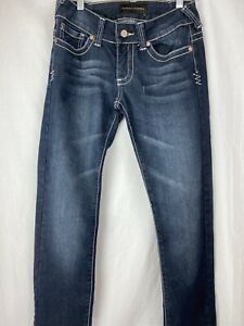 Chinese Laundry Women's Jeans 26 Blue Straight Leg Slim Med Rise Fade Distressed