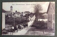 CPSM. ETALANS. 25 - Quartier de l'Église. 1928. Boulangerie. Chevaux. Cavaliers.