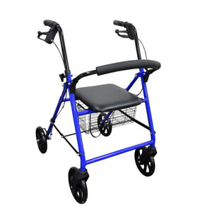 """NEW Lightweight Foldable Walker With 8"""" Wheels and Soft Seat by Wave Medical"""