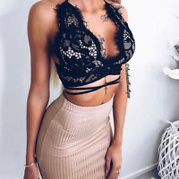 Sexy Womens Floral Lace Open Back Criss Cross Straps Bralet Bra Bustier Crop Top