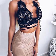 Sexy Women Floral Lace Open Back Criss Cross Strap Bralet Bra Bustier Crop Tops#