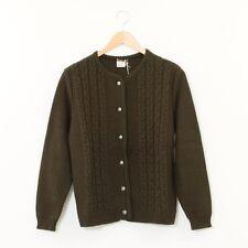 True Vintage Rich Brown Cable Knit Acrylic Short Cardigan Small Medium UK 10 12