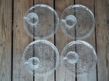 Vintage Set of 8 Clear Glass Snack Plates Cups Luncheon Ribbed Circle Design EUC